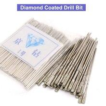 20 pcs 1 ~ 2.3mm Durável Lapidação de Diamante Revestido Broca Bits Agulha Sólida Para Jóias de Cerâmica Jade Ágata vidro âmbar