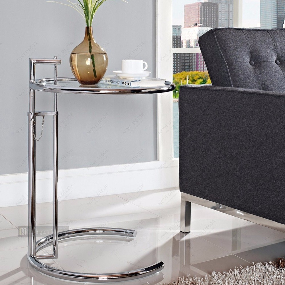 Eileen Gray Table Us 160 Height Adjustable Eileen Gray Side Table Tempered Glass Top Eileen Gray End Table Side Table Modern Tea Table Caft Loft Table In Coffee