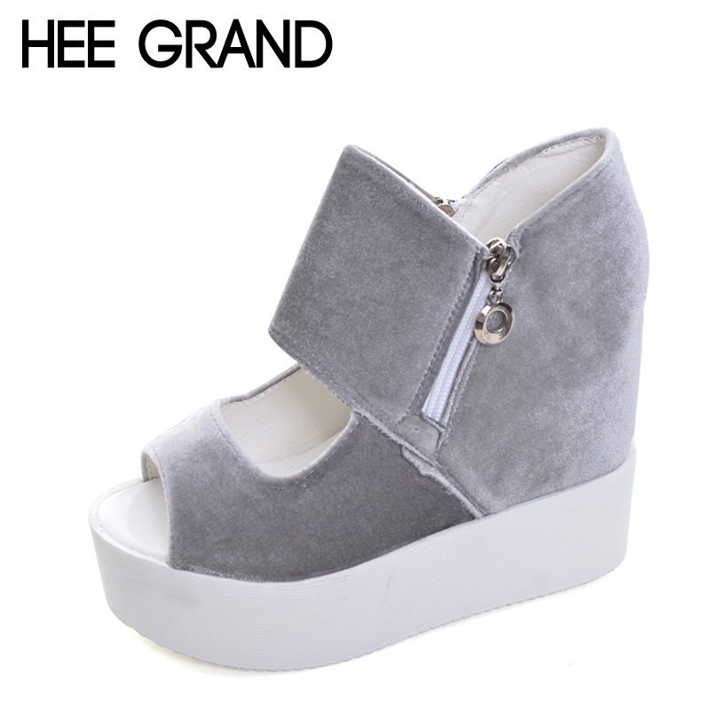 HEE GRAND Suede Platform Gladiator Sandals 2017 New Casual Shoes Woman Summer Women Ankle Boots Slip On Creepers XWZ3845 phyanic summer gladiator sandals beach platform shoes woman wedges sandals slip on flats creepers casual women shoes phy3337