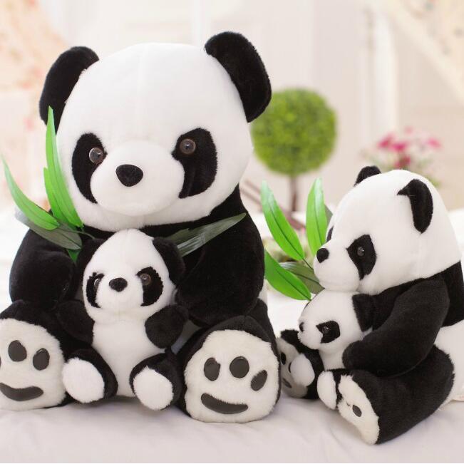 1 muñeca de peluche de 25cm para madre y el chico panda, regalo perfecto para niños, envío gratis Lote de 8 unidades de figuras de acción de Panda, Panda, Mini modelo de PVC para niños, juguetes de animales para niños, regalos de cumpleaños