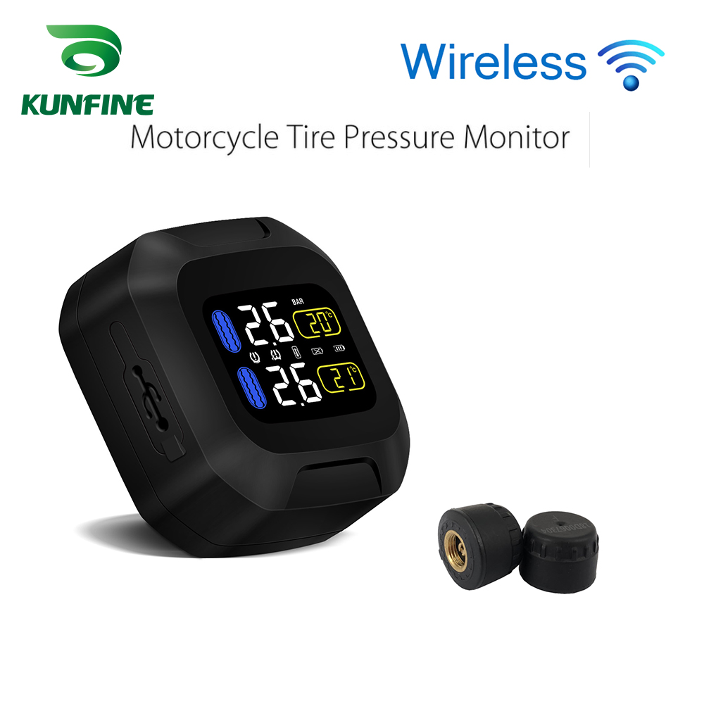 Smart Wireless Motorcycle TPMS Tire Pressure Monitoring System Motorcycle Tire Pressure Sensor Universal 2 External Sensors-in Tire Pressure Alarm from Automobiles & Motorcycles    1
