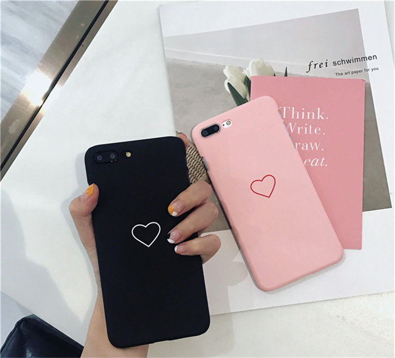 promo code 0486a 3b7a2 US $0.56 30% OFF|Cute Love Heart Print Back Cover For iPhone X XR XS MAX 8  7 6 6S Plus 5 5S SE Phone Case Hard PC Cases Coque For iPhone 7 8 Plus-in  ...