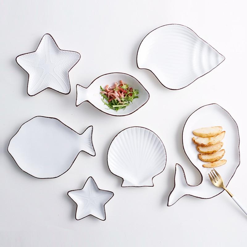 Zestaw 7 ceramiczne Ocean styl płyta ryby powłoki danie rozgwiazda danie trąbka powłoki miska niebieski biały porcelany obiadowy AKUHOME w Naczynia i talerze od Dom i ogród na  Grupa 2