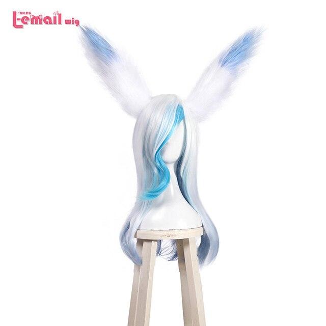 L e mail perücke Spiel LOL SSG Xayah Cosplay Perücken Weiß Mix Blau Lange mit Ohren Halloween Cosplay Perücke Wärme beständig Synthetische Haar