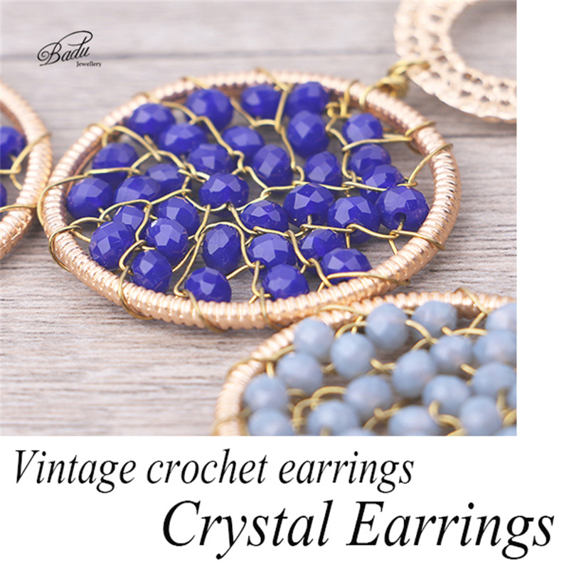 HTB1t3WkPXXXXXaFapXXq6xXFXXXN - Badu Royal Blue Crystal Earring Women Ethnic Crochet Dangle Earrings Vintage Fashion Jewelry for Winter