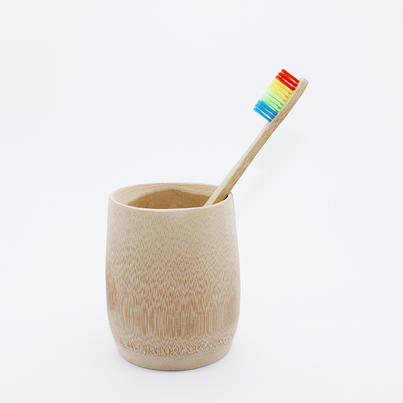 rainbow bamboo charcoal toothbrush hard bristle small brush head Wooden Adult toothbrush oral hygiene teeth brush tongue scraper image