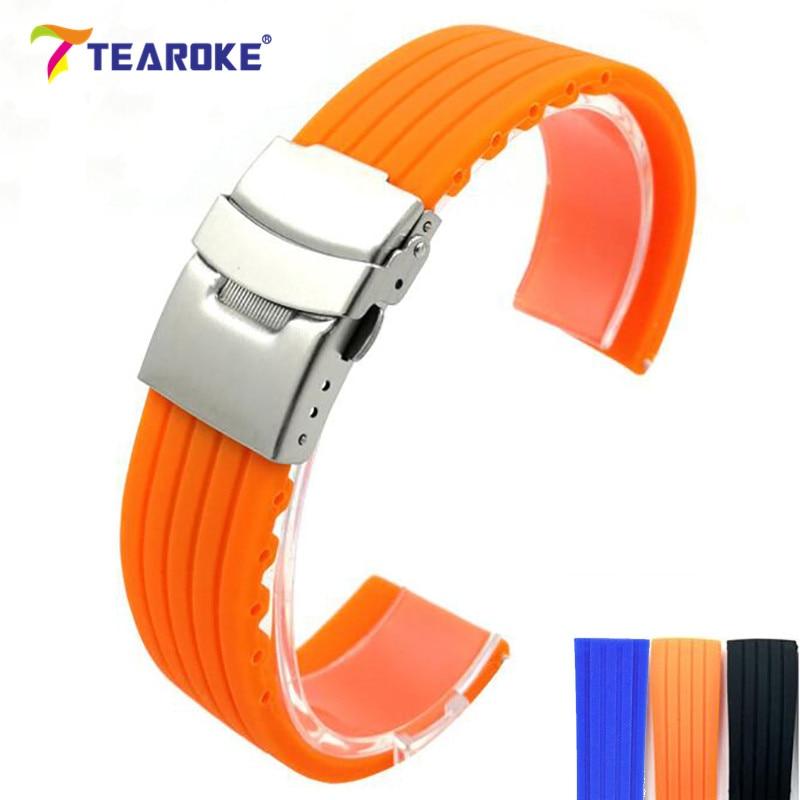 Bracelet de montre en silicone universel 18 20 22 24 mm rayé en caoutchouc souple boucle déployante boucle de déploiement bracelet de montre de plongée étanche