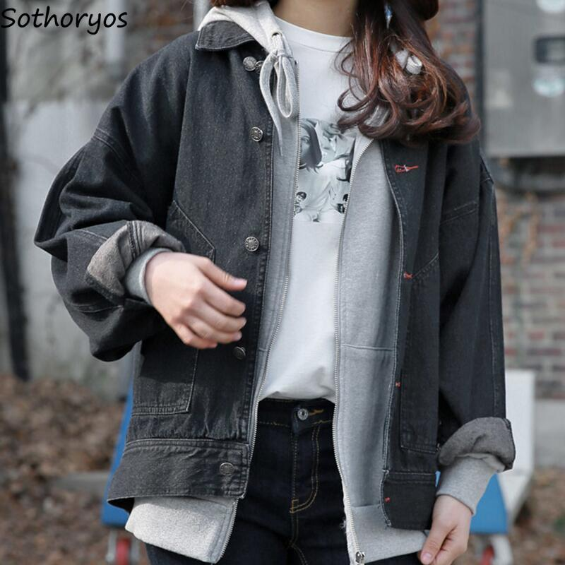 Jackets Women Solid Single Breasted Denim Vintage Basic Jacket Womens All-match Simple Pockets Korean Style Coats Students Chic