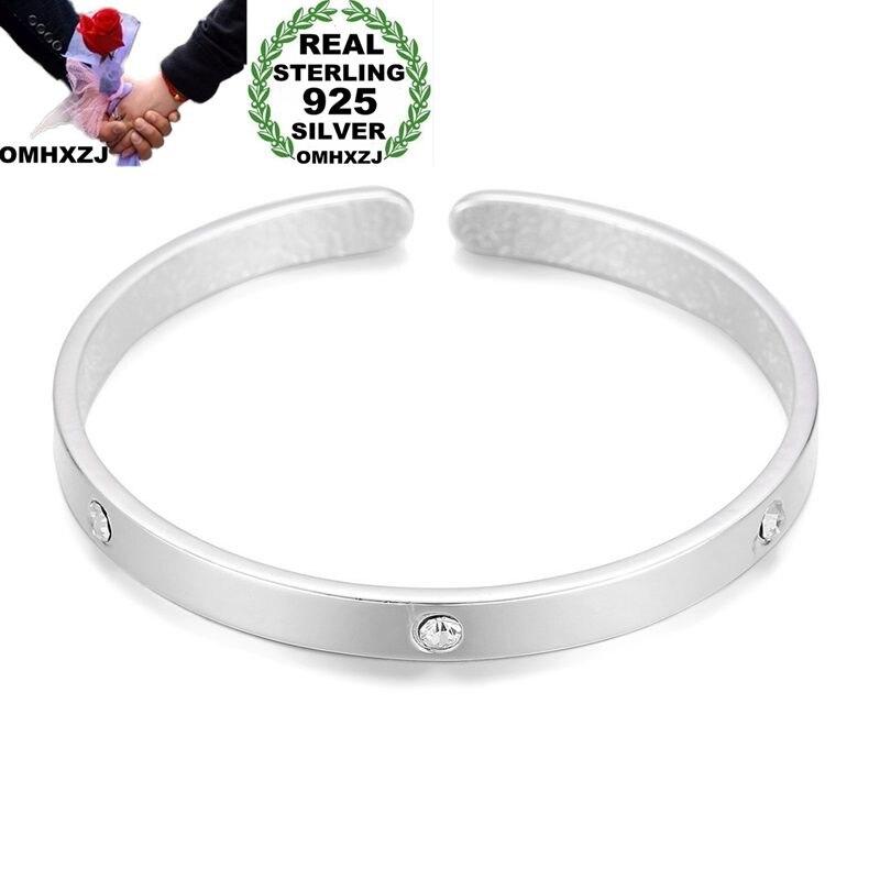 100% QualitäT Omhxzj Großhandel Europäischen Mode Frau Mädchen Party Hochzeit Geschenk Einfache Weiß Aaa Zirkon 925 Sterling Silber Manschette Armreif Ba75