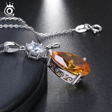100% Real Sterling Silver Pendant With Chain 925 Women Necklace Water Drop Yellow Clear Big AAA CZ