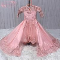 SuperKimJo Desmontable Vestido De Daminha Baratos Vestidos de Flores Niña para Bodas de Encaje Apliques Con Cuentas Vestidos Del Desfile de La Niña
