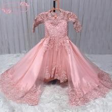 Vestido De Daminha SuperKimJo Destacável Barato Da Menina de Flor Vestidos para Casamentos Lace Applique Frisado Pageant Vestidos Da Menina