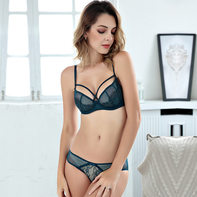 282f962af471e Home   Push Up Lace Bra Set Women Sexy Full Transparent Lingerie Underwear  Sets Embroidery Unlined Ultra Thin Bra and Briefs Sets. Previous