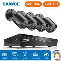 SANNCE RU Clearance 1MP 4CH Security CCTV System 4PCS 720P Outdoor Waeatherproof Camera Home Video Surveillance Kit Camera Kit