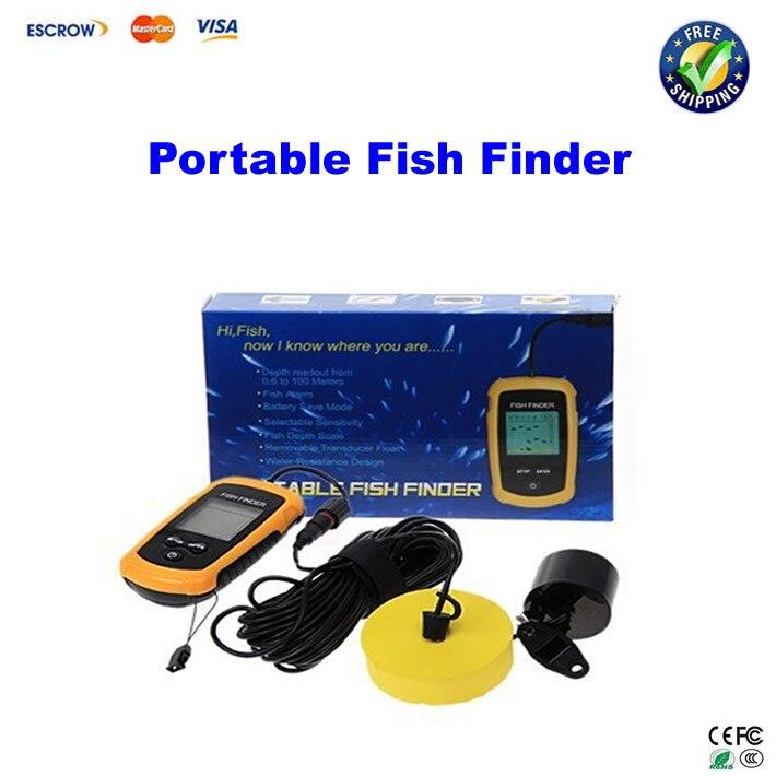 цена на 100M Portable Fish Finder Depth Sonar Sounder Alarm Transducer Fishfinder,english version