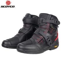 SCOYCO buty motocyklowe męskie wodoodporne buty Moto Faux Leather Motocross terenowe buty wyścigowe T020W