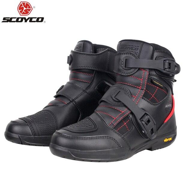 SCOYCO دراجة نارية أحذية الرجال مقاوم للماء موتو أحذية فو الجلود موتوكروس على الطرق الوعرة سباق الأحذية T020W