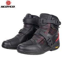 Scoyco motocicleta botas homens à prova dwaterproof água sapatos de moto couro falso motocross fora de estrada de corrida botas t020w