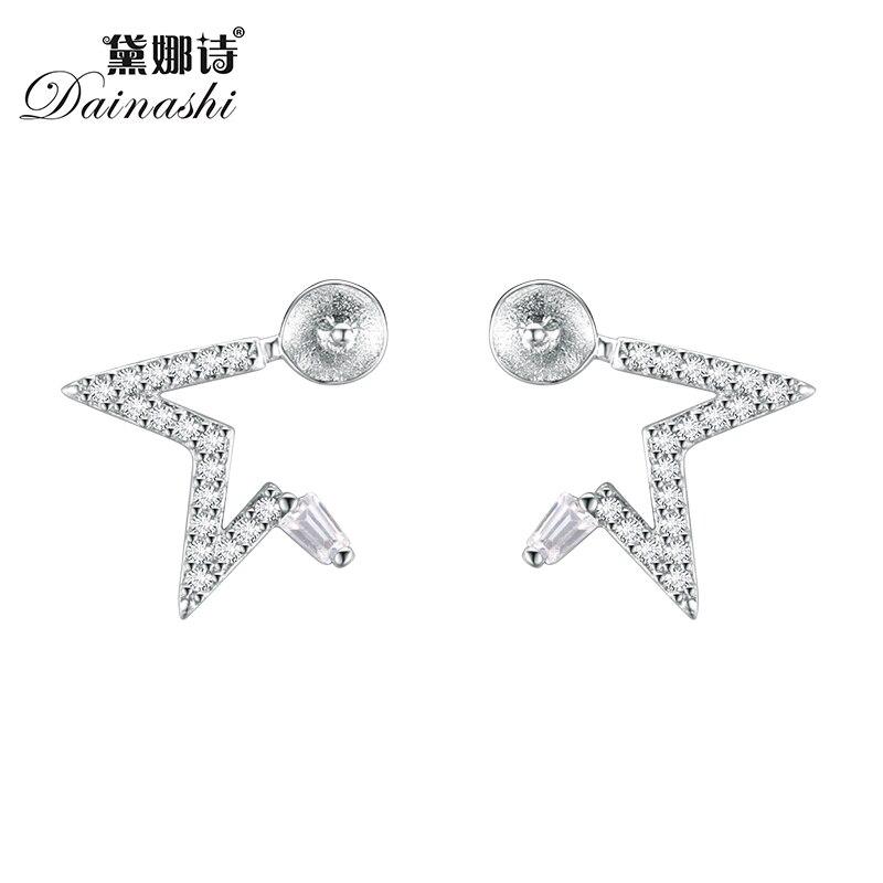 Pendientes Dainashi 5 unids/lote de moda medio pentagrama completo de diamantes, pendientes de perlas DIY, hallazgos de joyería, regalo de mujer