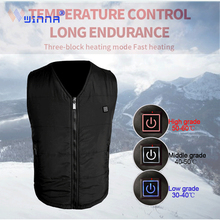 New USB Electrical Heated Vest Cotton Thermal Black Outdoor Vests Men Winter Sports Hiking Fishing Size Adjustable