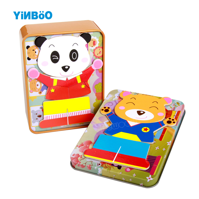 Baby Toy Wood Magnetic 3D Puzzle Toy Cartoon Animal Bear Dress Change Puzzles Kids Educational Toys with Iron Box