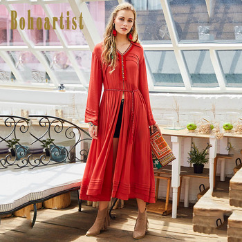 Bohoartist Women Patchwork Boho Apparel 2017 Autumn Embroidery Pleated Dress OL Tassel Button Long Sleeve Ladies Casual Dresses outfits para playa mujer 2019