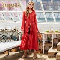 Bohoartist Women Patchwork Boho Apparel 2017 Autumn Embroidery Pleated Dress OL Tassel Button Long Sleeve Ladies