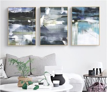 Gray Blue Color Block Graffiti Abstract Canvas Paintings Modular Pictures Wall Art for Living Room Decoration
