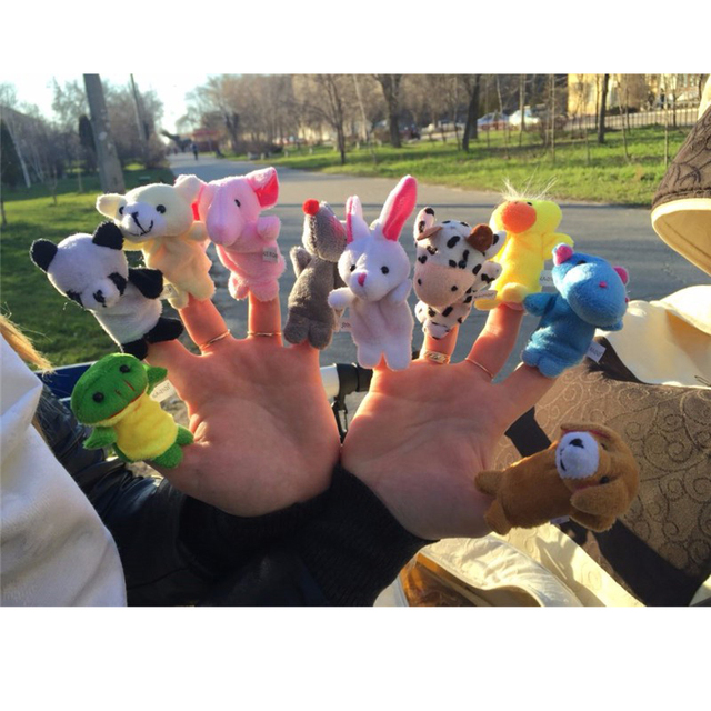 10 Pcs/lot Baby Plush Toys Cartoon Happy Family Fun Animal Finger Hand Puppet Kids Learning & Education Toys Gifts 2