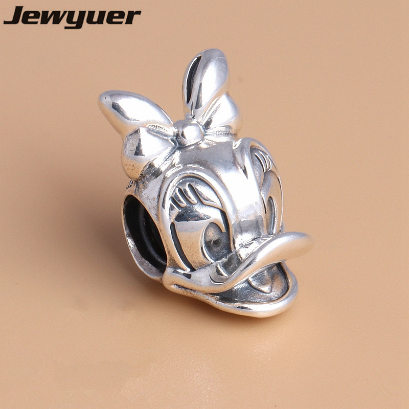 Charms 2017 New Cartoon Duck Portrai Charms 925 Sterling Silver Animals Charm Fit Beads Bracelets Diy Making Fine Jewelry Dsn082