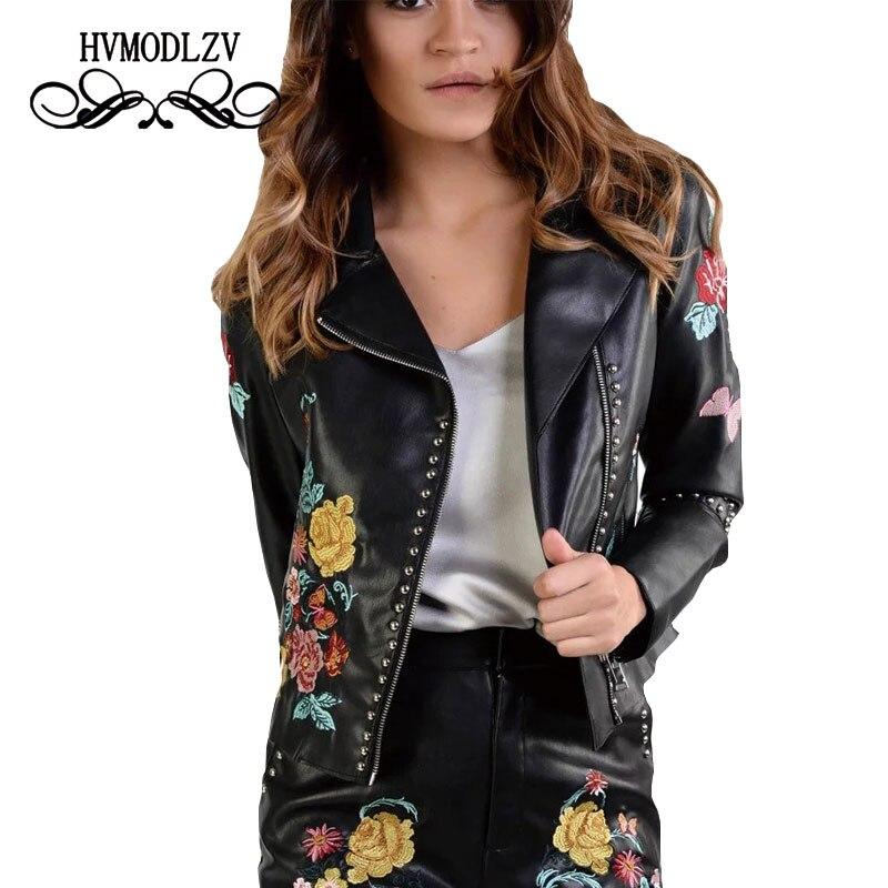 2017 nouveau serré en cuir les rues veste printemps veste femmes Rivets broderie en cuir veste de haute qualité vêtements ls008
