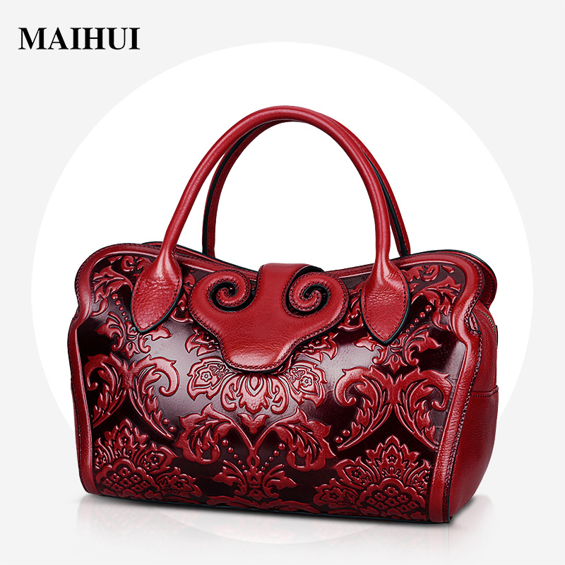 Maihui elegant floral embossed leather handbags chinese style mommy bag new designer high quality shoulder bags wome boston bags