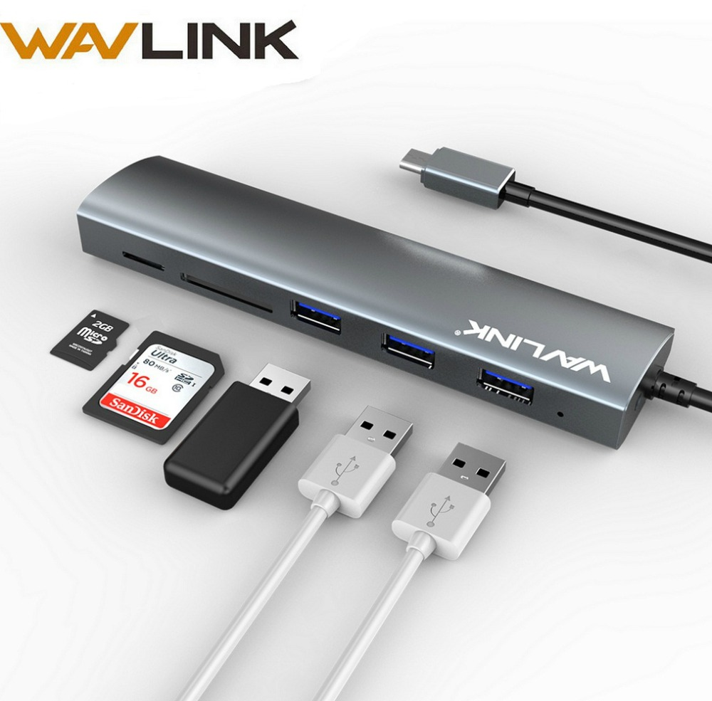 Wavlink USB 3.0 Hub Aluminum type c adapter hub with USB 3.0 Ports SD/Micro SD TF Card Reader for MacBook Pro Type C Hub  5 Gbps