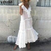 VONDA Maternity Dresses Clothes For Pregnant Women Ruffle Sleeveless Maxi Long Dress 2019 Summer Pregnants Dress Gravida S 5XL