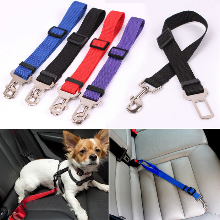 2017 High Quality Safety 4 Color Adjust Pets Car Safe Seat Belt Outdoor walking Playing lead restraint harnessS1
