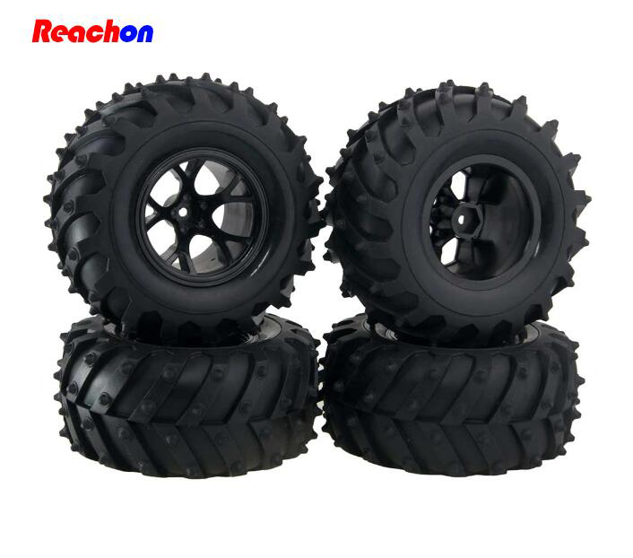 цены  Free Shipping 4PCS 1/10 HPI RC Monster Truck Tires Heng Long HSP RC Crawler Car Rubber Tire With Wheel Hubs 125mm