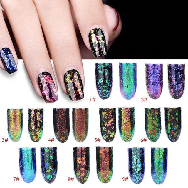 Colorful Nail Art Powder Glitter Professional Mirror Effect 3D Nail ...