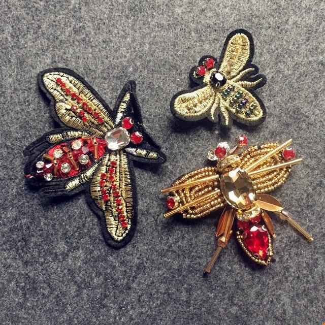Тяжелые Вышивание бисер Би вышивка ткань патч букашки бабочка орнамент Валяем брошь материал одежды DIY аксессуары