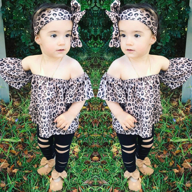Baby Girl Clothes Fashion Newborn Off shoulder Leopard T-shirt Top+Hole Pants Legging+Black Headband 3PCS Baby Girl Clothing Set