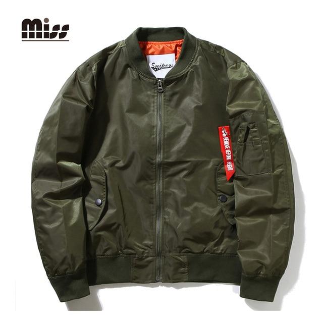 MISS 2016 Autumn MA1 Bomber Jacket Men Zipper Solid Army Green Jacket Men's Thin Military Flight Pilot Jackets T5B85