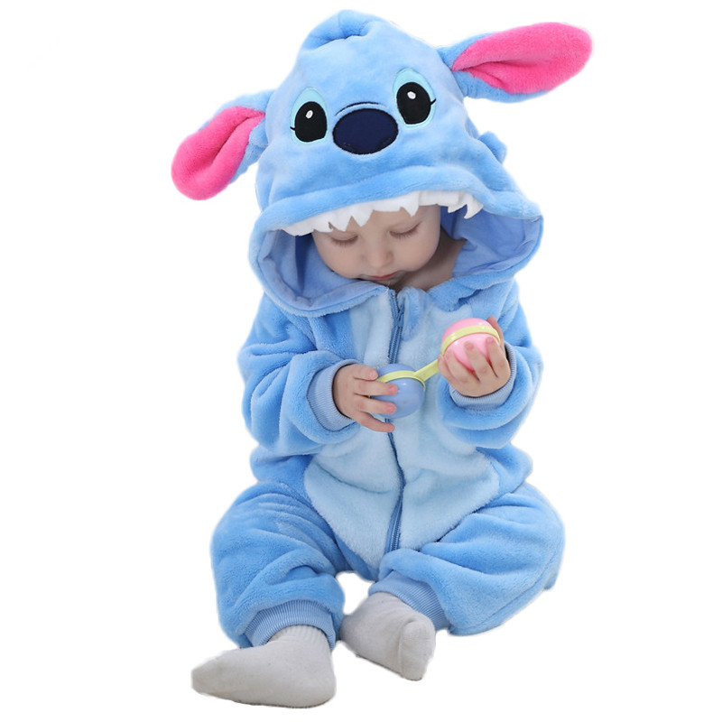 Panda Baby Clothes Rompers Stitch Costume Baby Flannel Baby Boy Clothes Jumpsuit Newborn Baby Clothing Girl Animal Rompers baby boys clothes animal costume winter clothes flannel cotton cartoon jumpsuit baby girl rompers clothing infant bebes pajamas