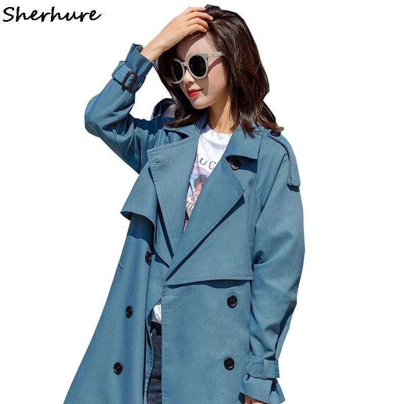 2019 Women   Trench   Coat Turn Down Collar Women Long   Trench   Coat With Belt Casaco Feminino Harajuku Abrigo Mujer   Trench   Femme