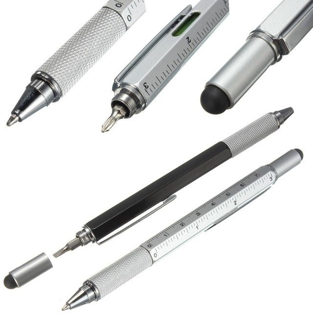 5pcs/lot Overvalue Handy Tech Tool Metal Ballpoint Pen Screwdriver Ruler Spirit Level Multifunction pen