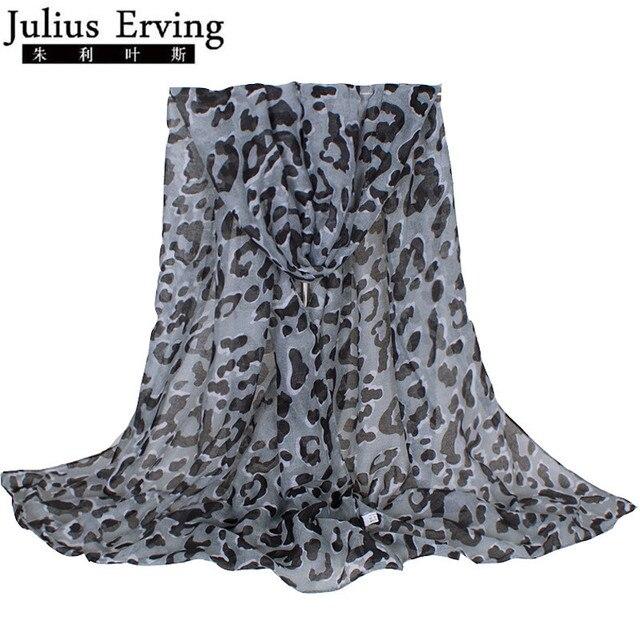 e25bd4eab549a Julius Erving classique gris femmes écharpe imprimé léopard 2017 nouvelle  mode dame marque Design châle Echarpe