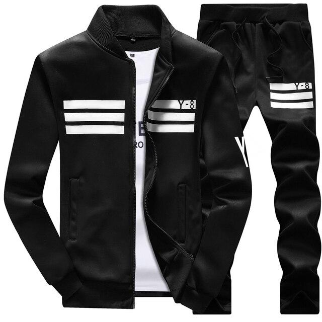 2018 Men's Sportswear Large size 8XL Men Sportsuit Pants Two Piece Track Suit   Hip Hop Casual Sets Fitness Tracksuit Hoodies