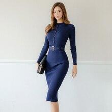 Осенне-зимнее однобортное женское трикотажное платье с О-образным вырезом и длинным рукавом с поясом, женское платье-свитер длиной до колена