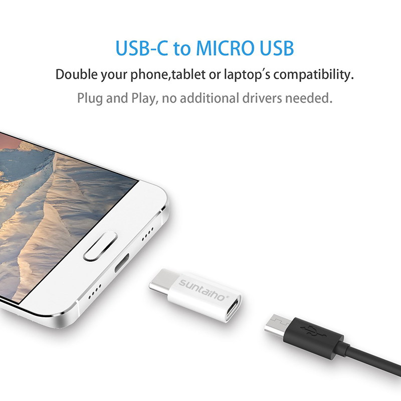 Suntaiho 3Pack USB Adapter USB C to Micro USB OTG Cable Type C Converter for Macbook Samsung Galaxy S9 S8 Huawei P20 Pro P10 OTG