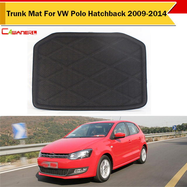 cawanerl car tray liner boot carpet protector trunk floor mat for vw volkswagen polo hatchback
