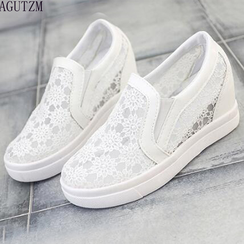 AGUTZM Summer Women Shoes Casual Cutouts Lace Canvas Shoes Hollow Floral Breathable Inside heighten shoes V397