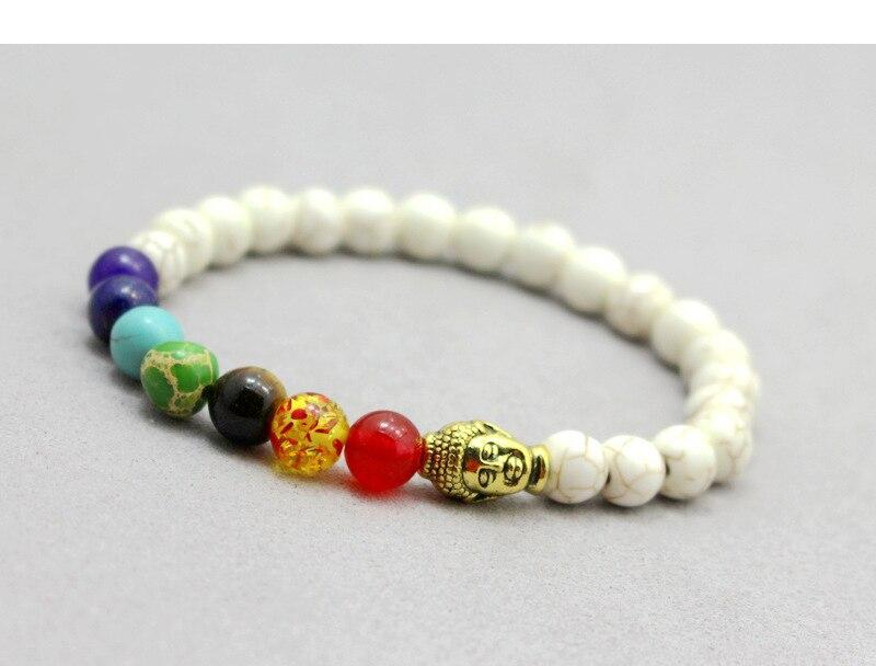 seven chakra bracelet white beads